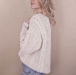 Vintage 80s White Cotton Cable Knit Sweater